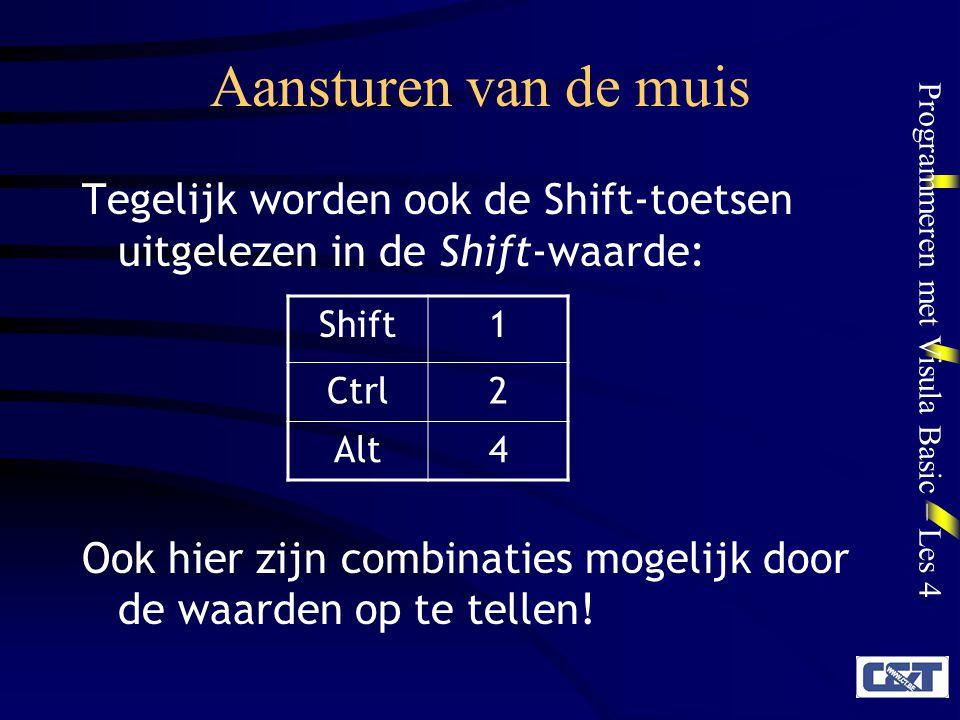 Aansturen van de muis Tegelijk worden ook de Shift-toetsen uitgelezen in de Shift-waarde:
