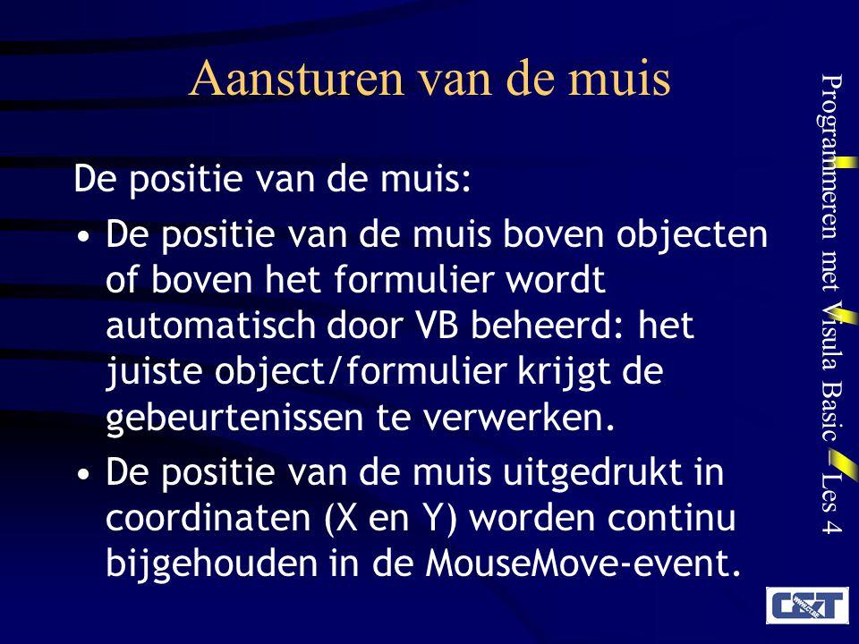 Aansturen van de muis De positie van de muis:
