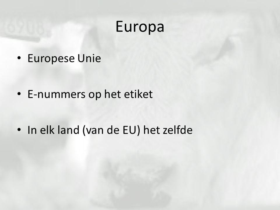 Europa Europese Unie E-nummers op het etiket