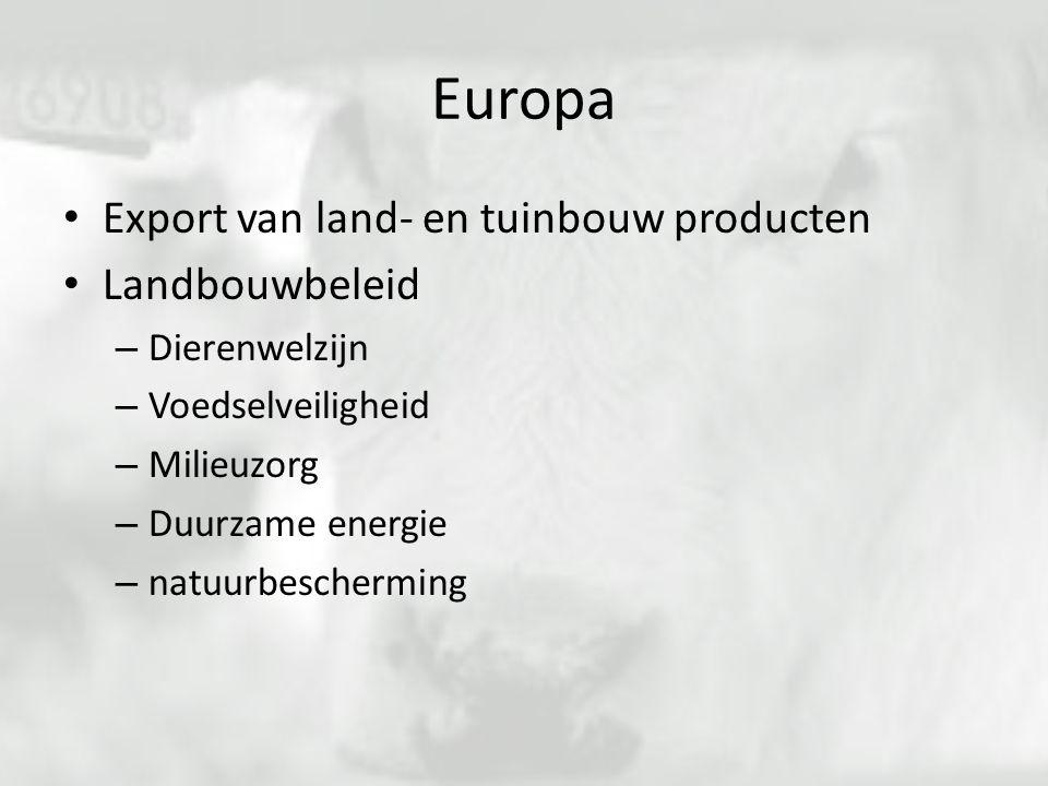 Europa Export van land- en tuinbouw producten Landbouwbeleid