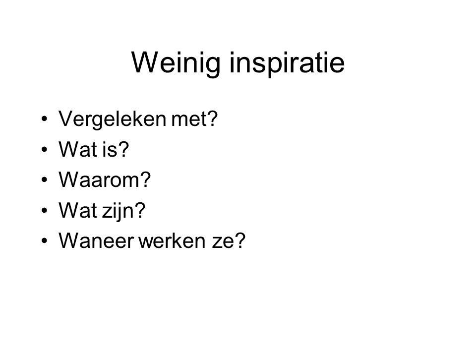 Weinig inspiratie Vergeleken met Wat is Waarom Wat zijn