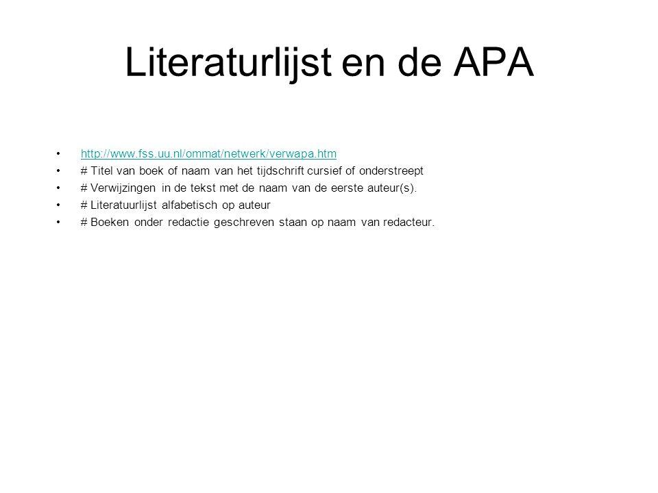 Literaturlijst en de APA