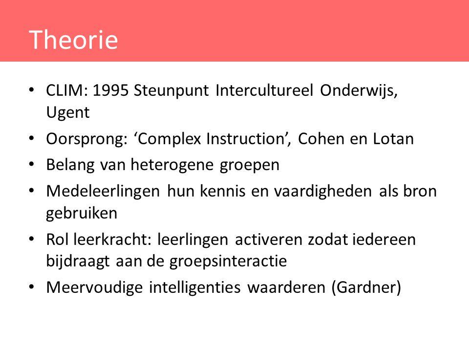 Theorie CLIM: 1995 Steunpunt Intercultureel Onderwijs, Ugent