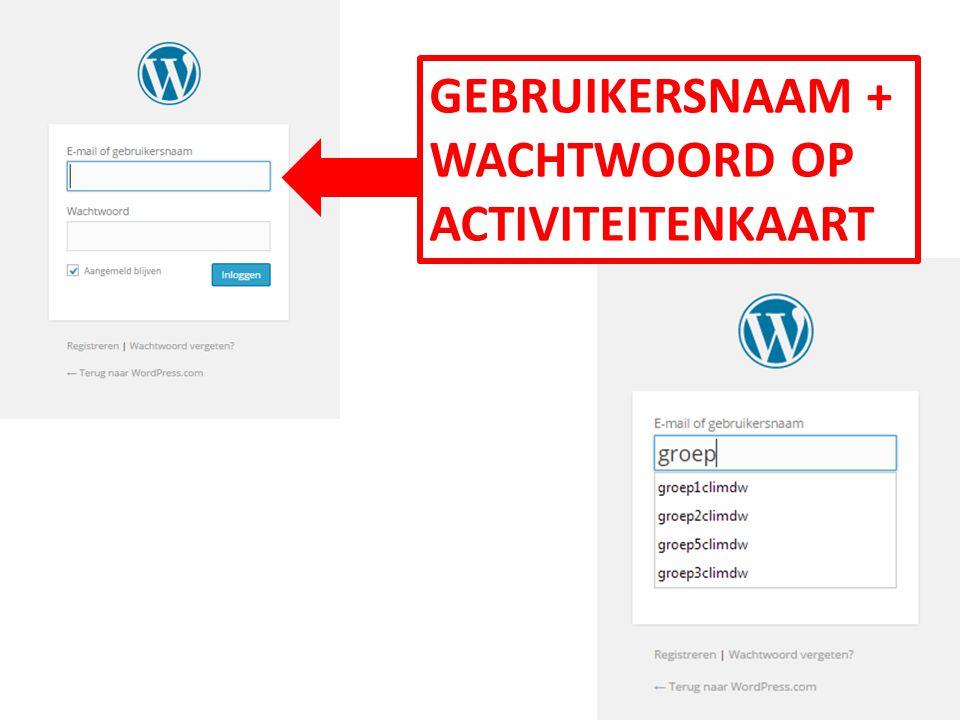 GEBRUIKERSNAAM + WACHTWOORD OP ACTIVITEITENKAART
