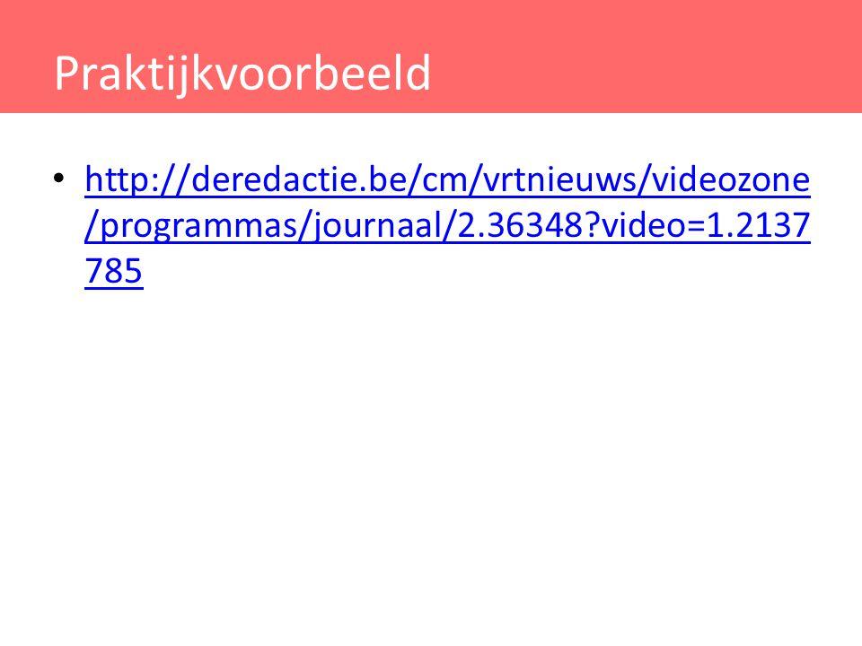 Praktijkvoorbeeld http://deredactie.be/cm/vrtnieuws/videozone/programmas/journaal/2.36348 video=1.2137785.
