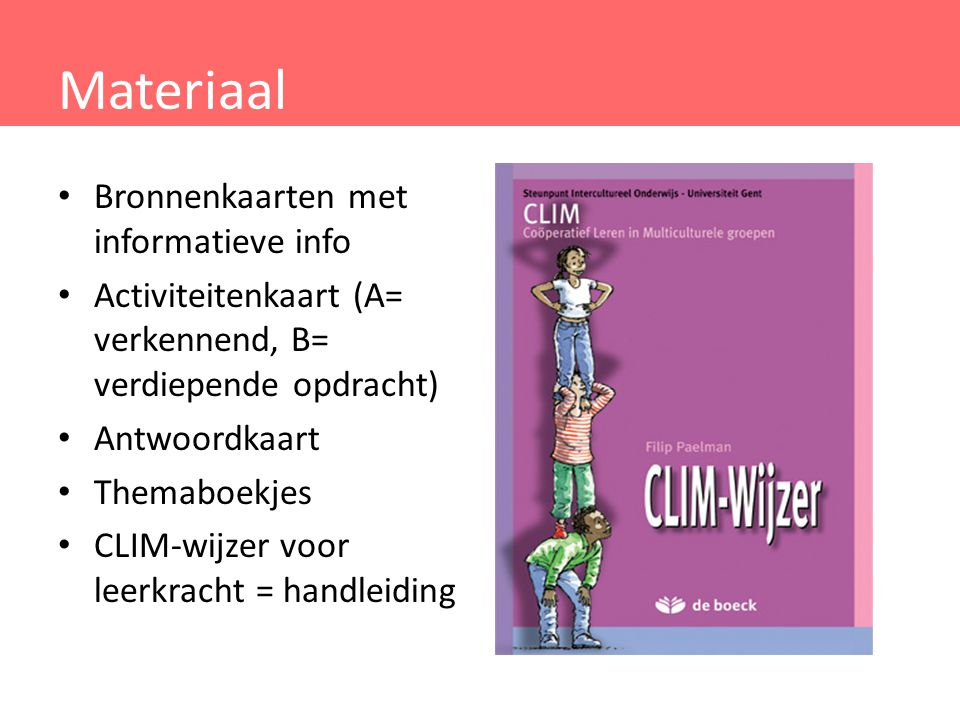 Materiaal Bronnenkaarten met informatieve info
