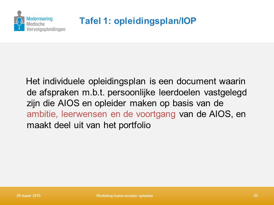 Tafel 1: opleidingsplan/IOP