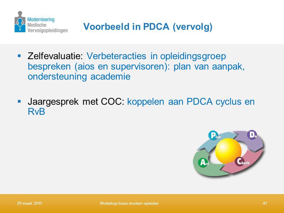 Voorbeeld in PDCA (vervolg)