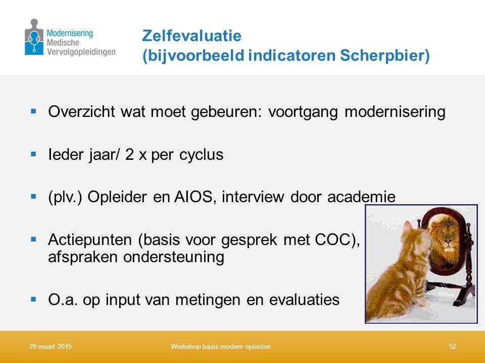 Zelfevaluatie (bijvoorbeeld indicatoren Scherpbier)