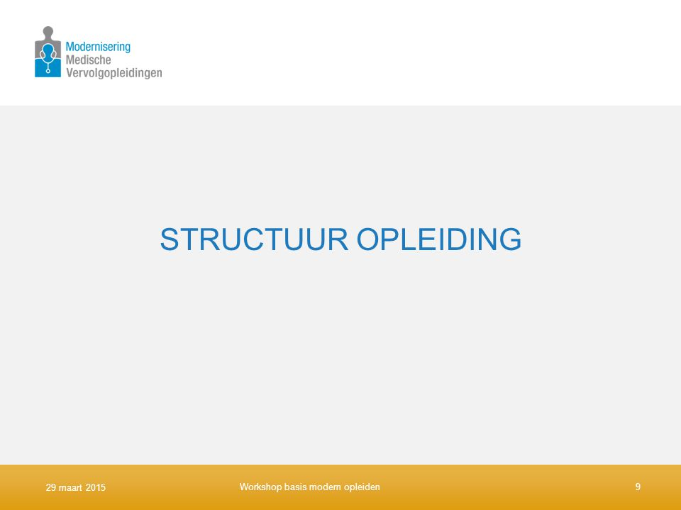 STRUCTUUR OPLEIDING 9 april 2017 Workshop basis modern opleiden