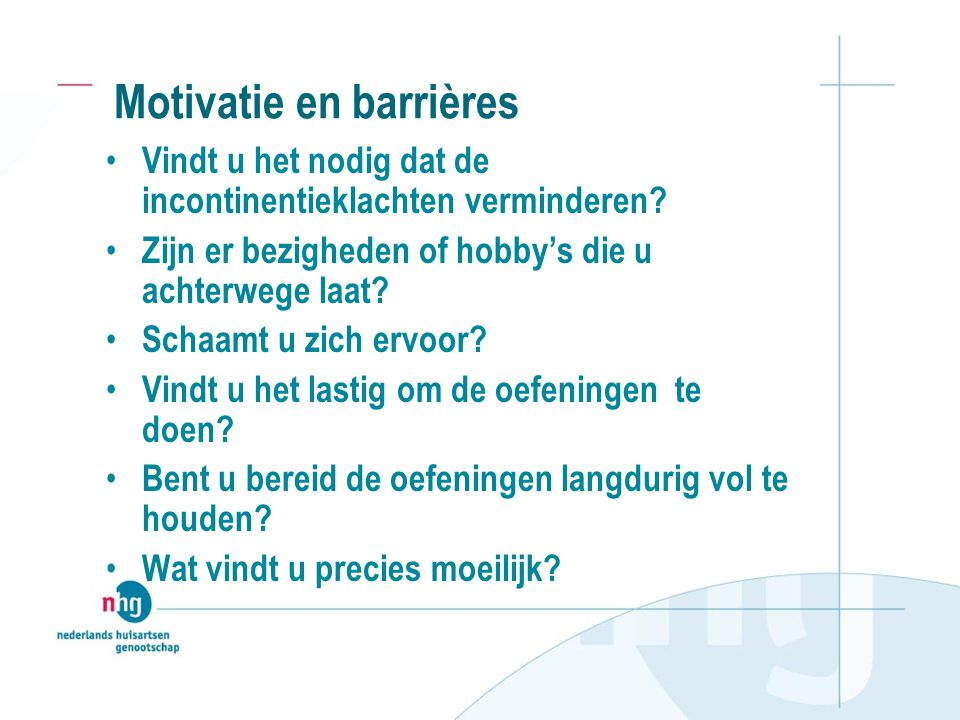 Motivatie en barrières