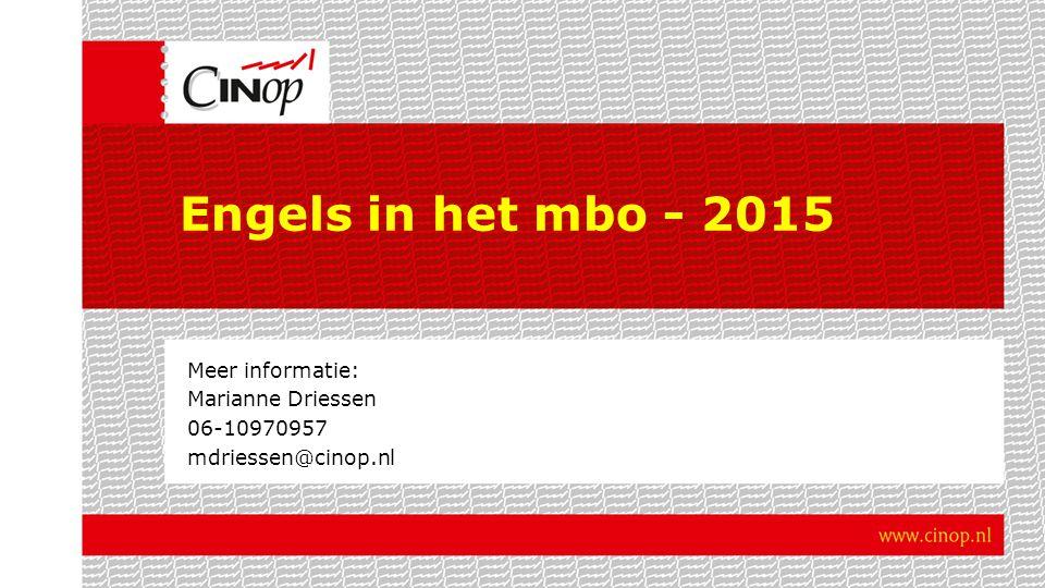 Meer informatie: Marianne Driessen 06-10970957 mdriessen@cinop.nl