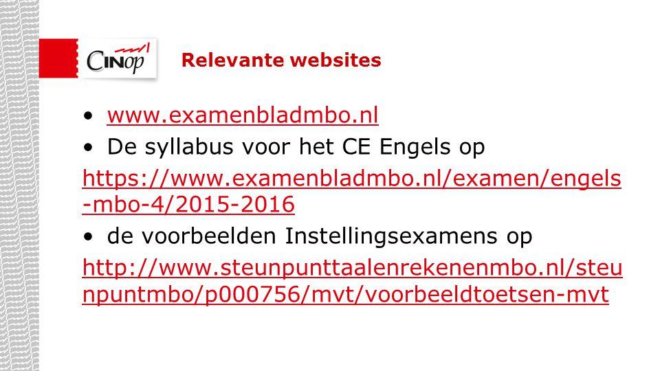 De syllabus voor het CE Engels op