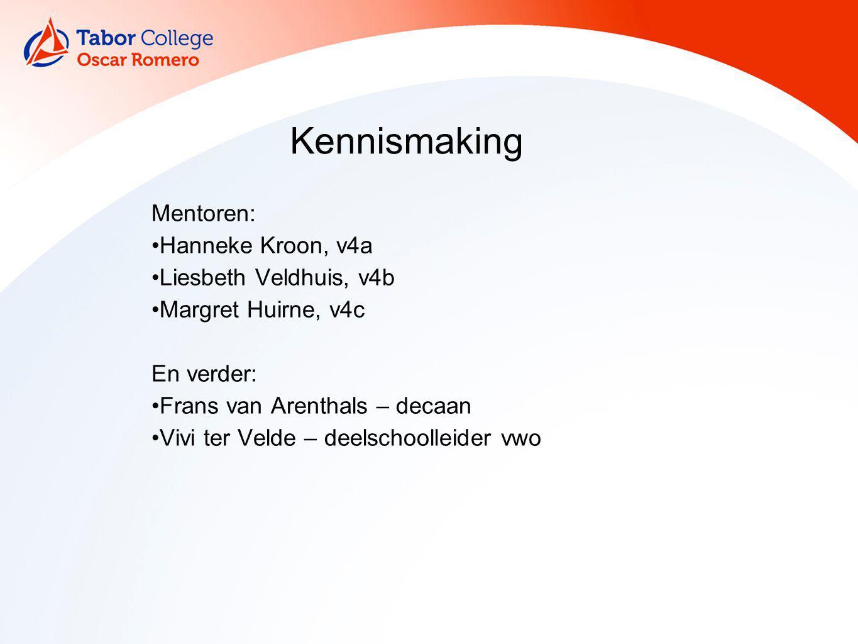 Kennismaking Mentoren: Hanneke Kroon, v4a Liesbeth Veldhuis, v4b