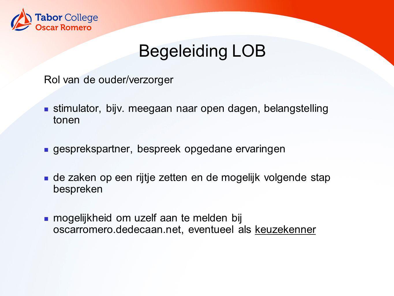 Begeleiding LOB Rol van de ouder/verzorger