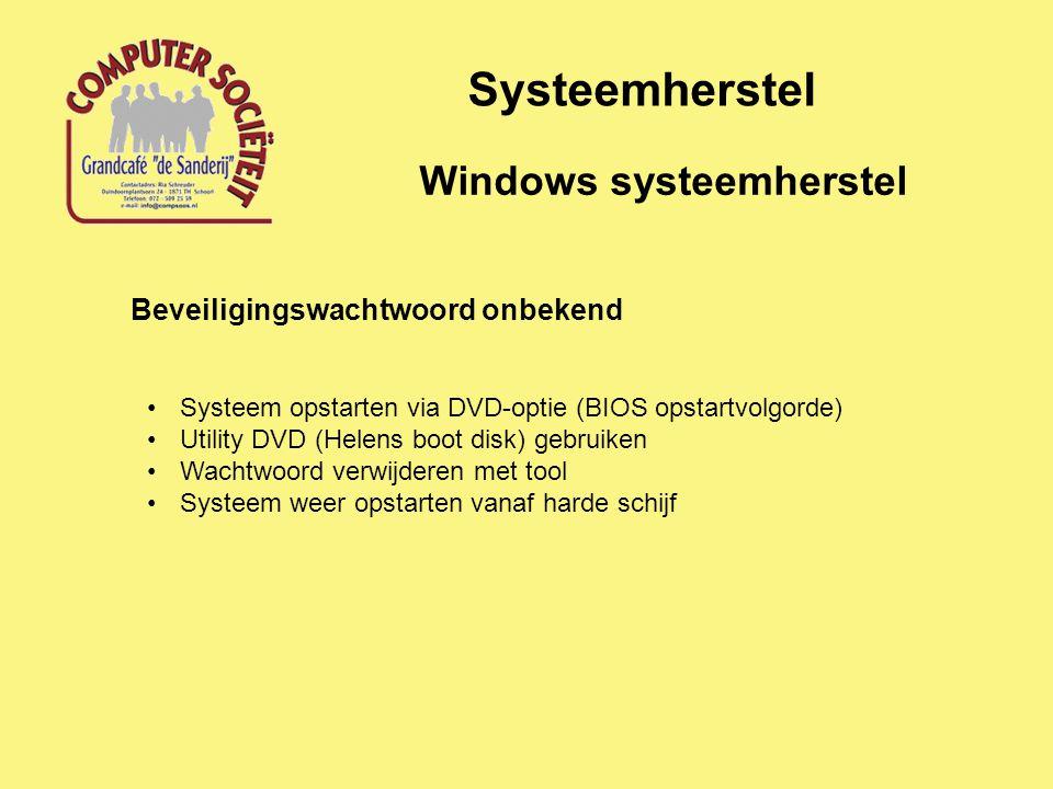 Systeemherstel Windows systeemherstel Beveiligingswachtwoord onbekend