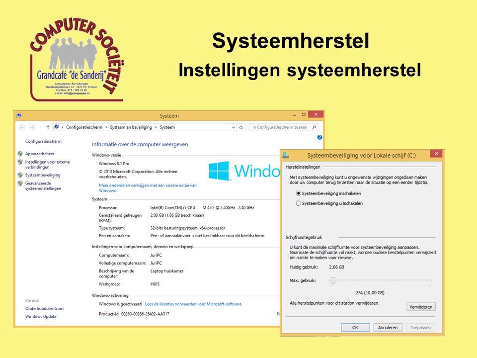Systeemherstel Instellingen systeemherstel