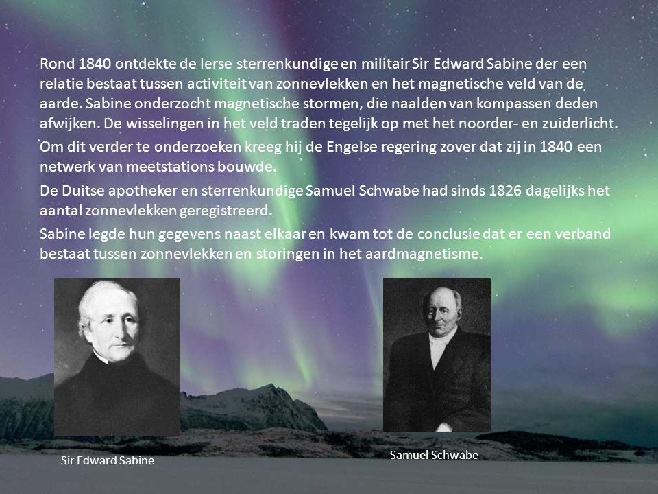 Rond 1840 ontdekte de Ierse sterrenkundige en militair Sir Edward Sabine der een relatie bestaat tussen activiteit van zonnevlekken en het magnetische veld van de aarde. Sabine onderzocht magnetische stormen, die naalden van kompassen deden afwijken. De wisselingen in het veld traden tegelijk op met het noorder- en zuiderlicht.