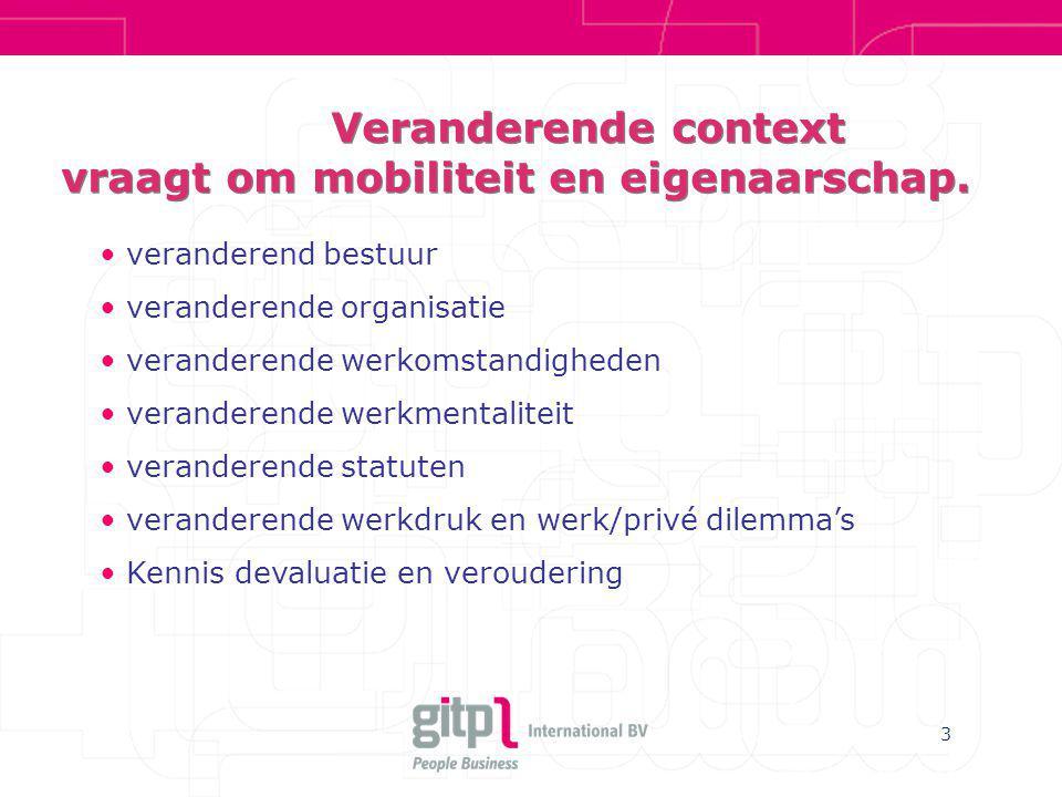 Veranderende context vraagt om mobiliteit en eigenaarschap.