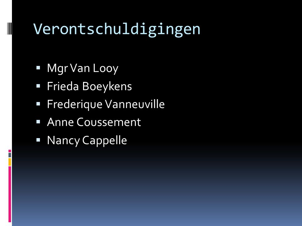 Verontschuldigingen Mgr Van Looy Frieda Boeykens