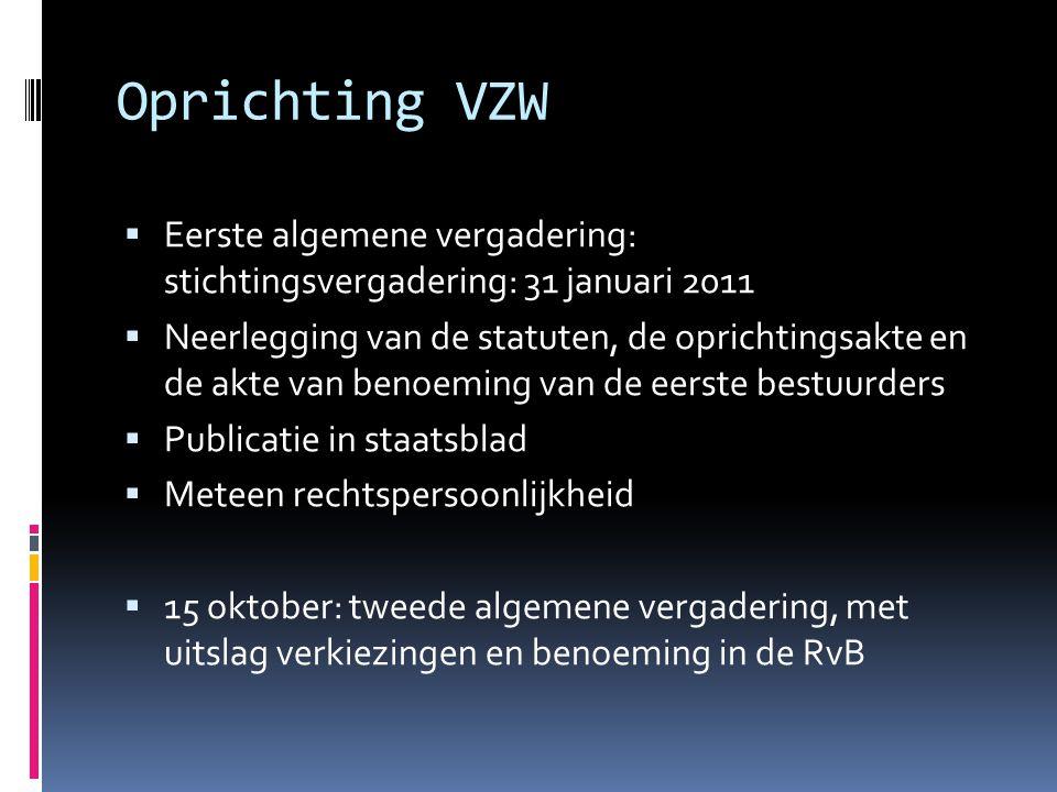 Oprichting VZW Eerste algemene vergadering: stichtingsvergadering: 31 januari 2011.
