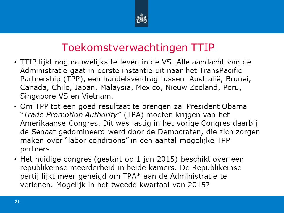 Toekomstverwachtingen TTIP