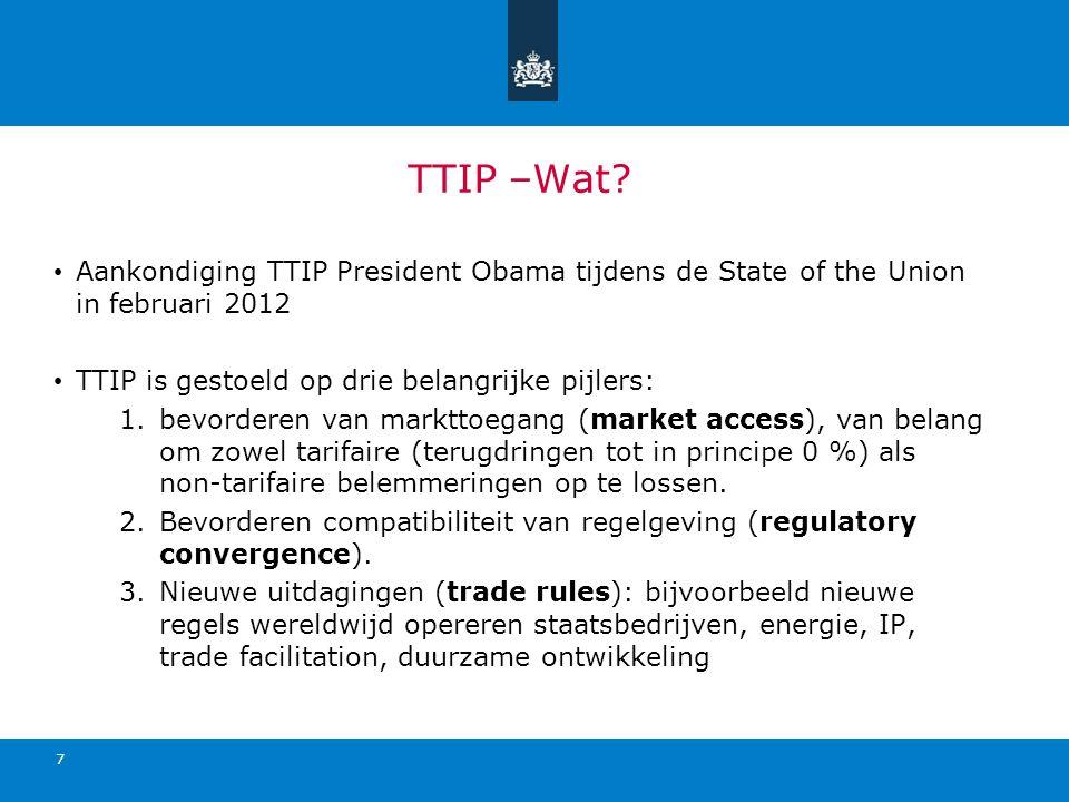 TTIP –Wat Aankondiging TTIP President Obama tijdens de State of the Union in februari 2012. TTIP is gestoeld op drie belangrijke pijlers: