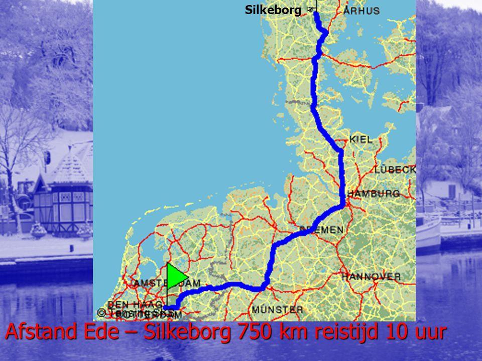 Afstand Ede – Silkeborg 750 km reistijd 10 uur