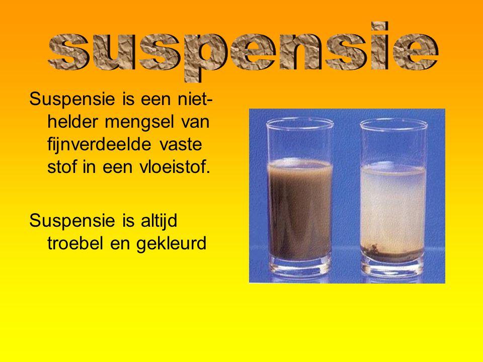 suspensie Suspensie is een niet-helder mengsel van fijnverdeelde vaste stof in een vloeistof.