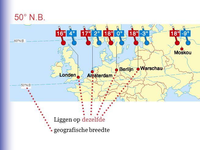 50° N.B. Liggen op dezelfde geografische breedte