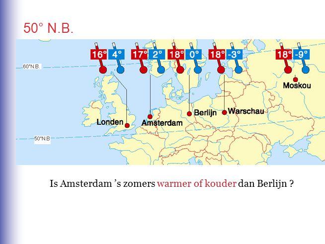 50° N.B. Is Amsterdam 's zomers warmer of kouder dan Berlijn