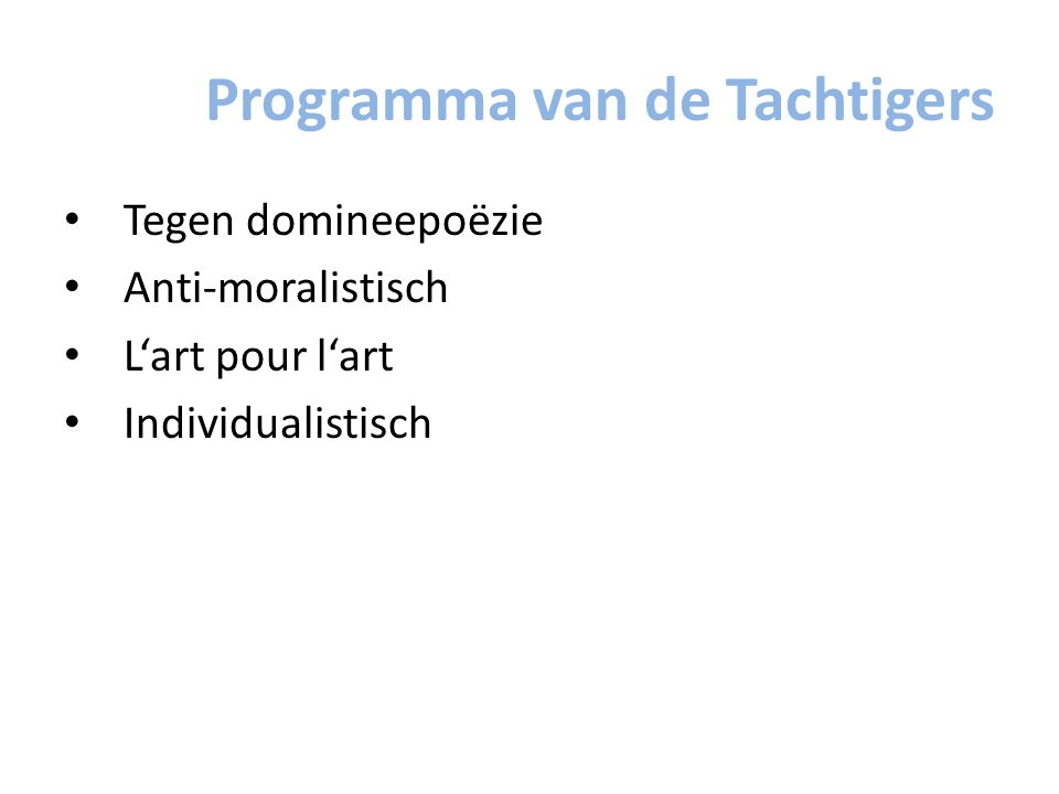 Programma van de Tachtigers