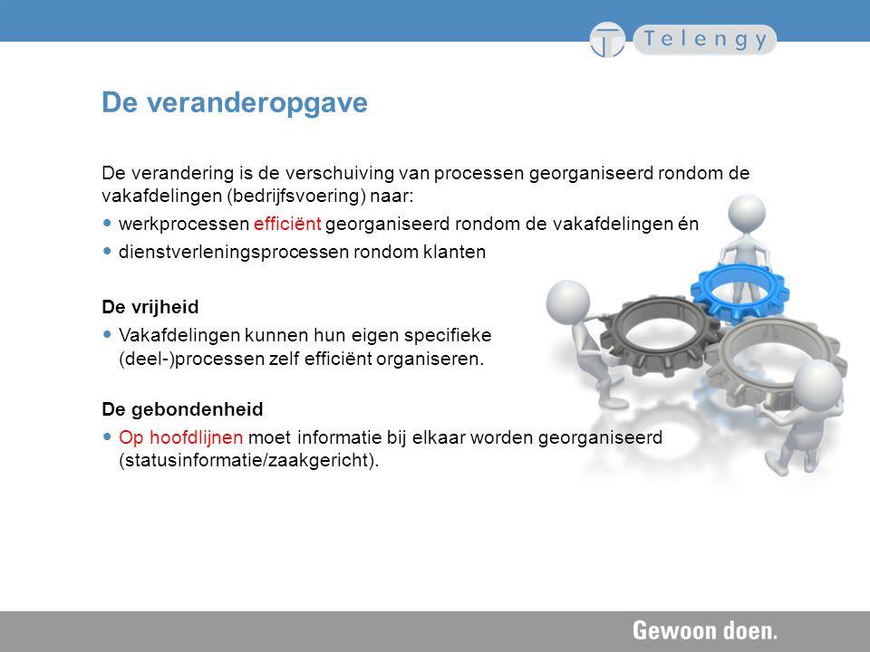 De veranderopgave De verandering is de verschuiving van processen georganiseerd rondom de vakafdelingen (bedrijfsvoering) naar: