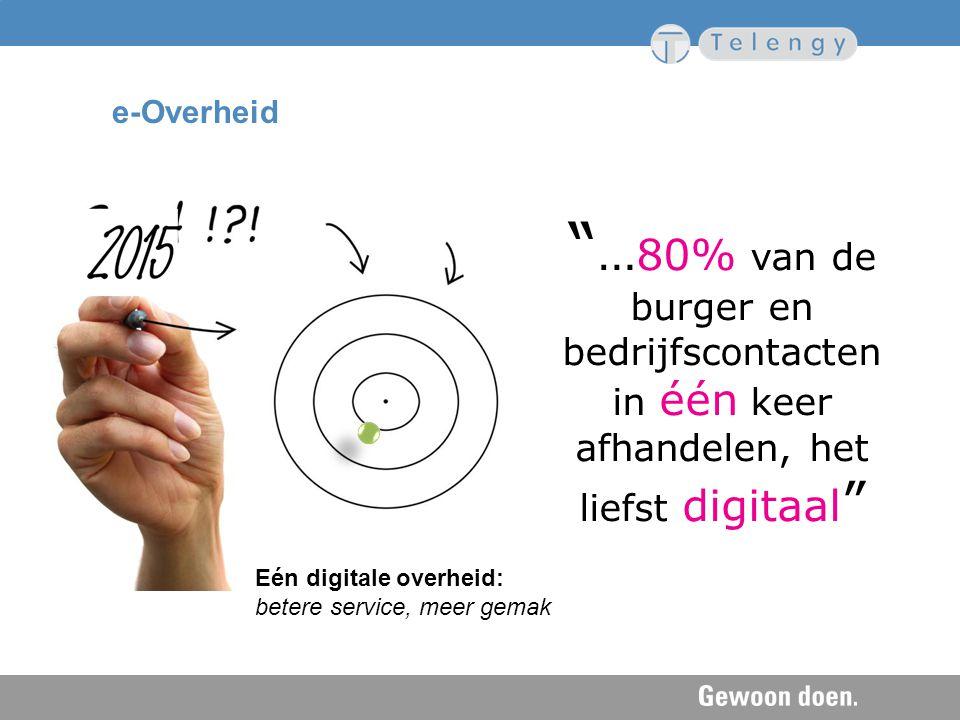 e-Overheid …80% van de burger en bedrijfscontacten in één keer afhandelen, het liefst digitaal Waar doen we het ook al weer allemaal voor, deel 1.