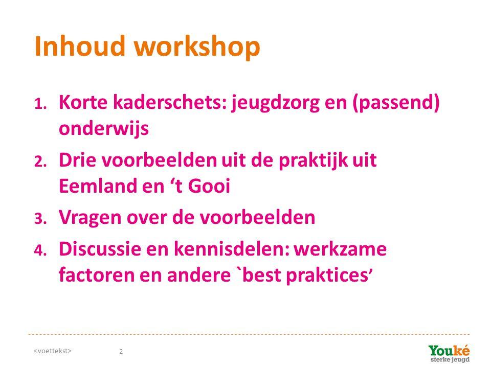 Inhoud workshop Korte kaderschets: jeugdzorg en (passend) onderwijs