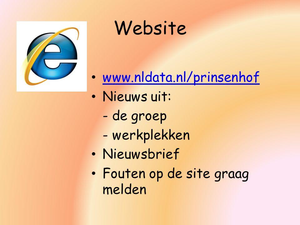 Website www.nldata.nl/prinsenhof Nieuws uit: - de groep - werkplekken