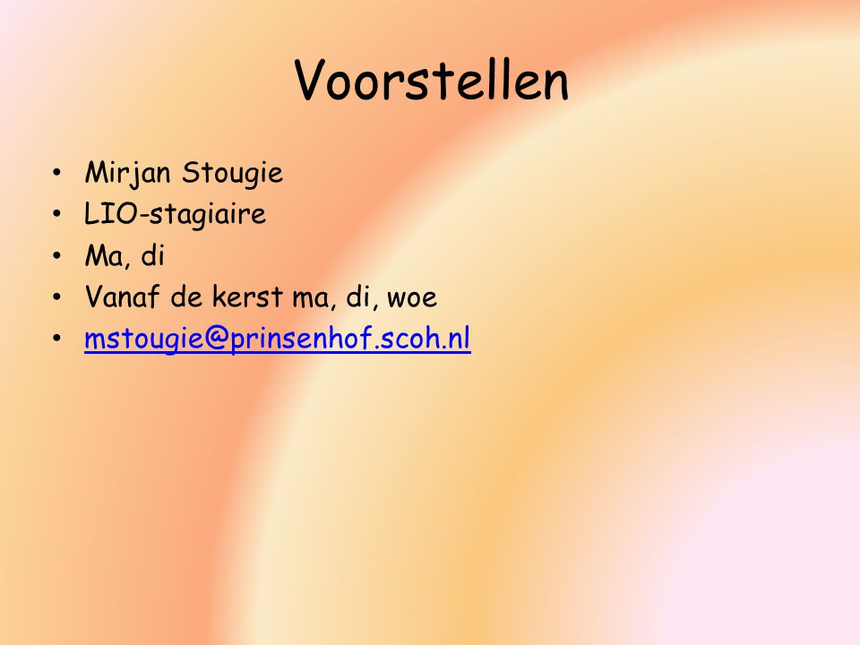 Voorstellen Mirjan Stougie LIO-stagiaire Ma, di