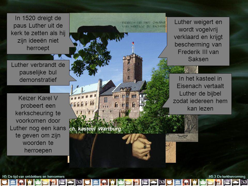 Luther verbrandt de pauselijke bul demonstratief