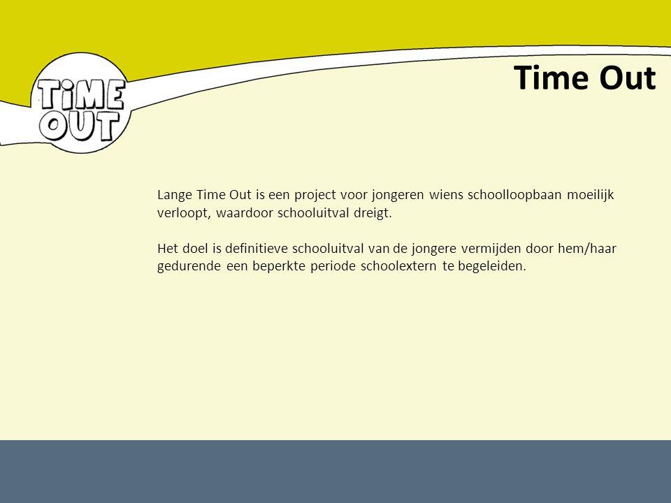 Time Out Lange Time Out is een project voor jongeren wiens schoolloopbaan moeilijk verloopt, waardoor schooluitval dreigt.