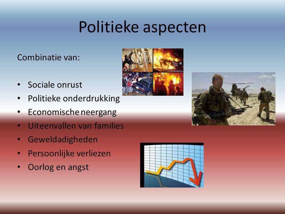 Politieke aspecten Combinatie van: Sociale onrust