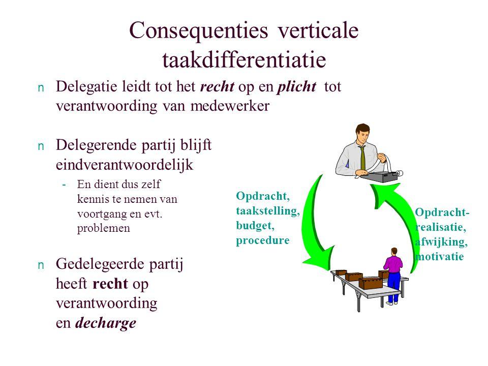 Consequenties verticale taakdifferentiatie