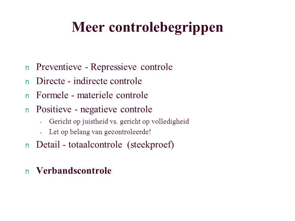 Meer controlebegrippen