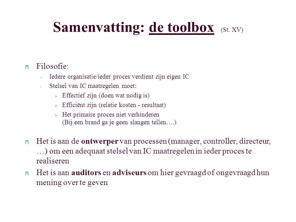 Samenvatting: de toolbox (St. XV)