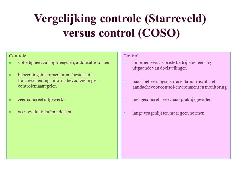 Vergelijking controle (Starreveld) versus control (COSO)