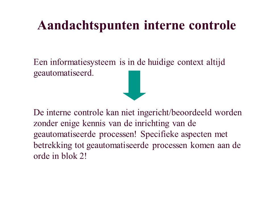 Aandachtspunten interne controle