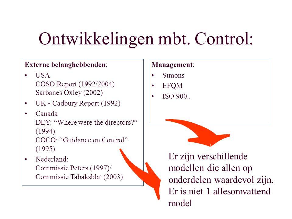 Ontwikkelingen mbt. Control: