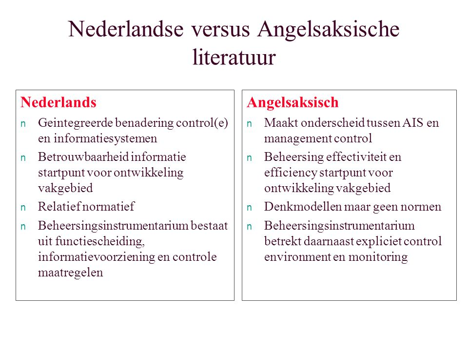 Nederlandse versus Angelsaksische literatuur