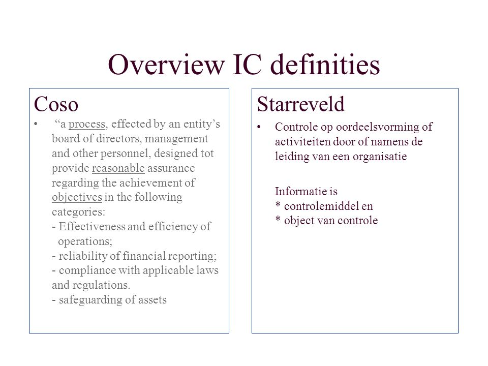 Overview IC definities