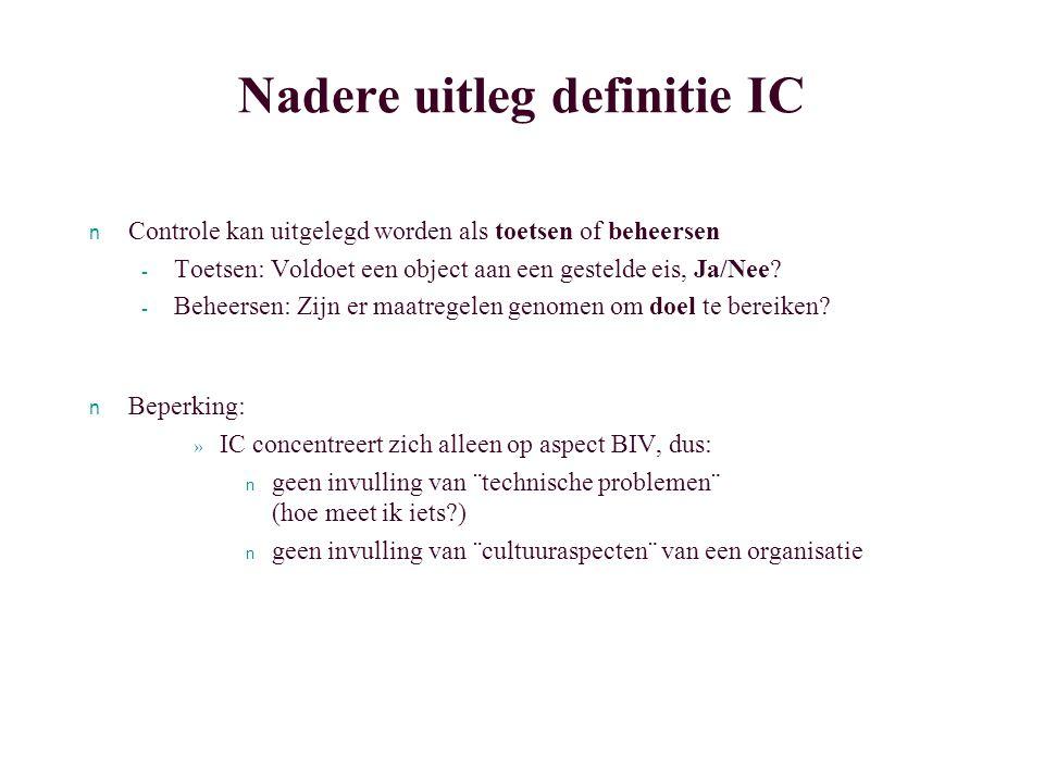 Nadere uitleg definitie IC