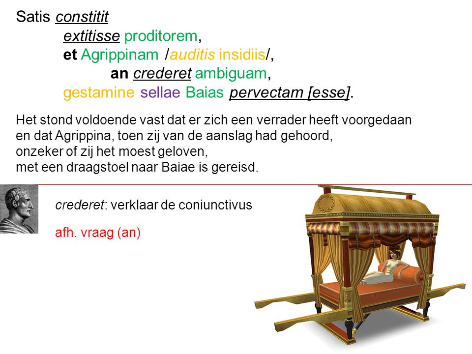 et Agrippinam /auditis insidiis/, an crederet ambiguam,